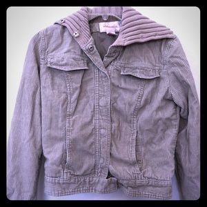 Cropped corduroy jacket with sweater collar